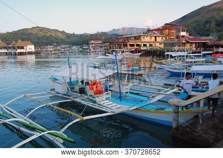 Palawan, Ph - March 8 - Boats Docked At Coron Public Market On March 8, 2012 In Coron, Palawan, Phil