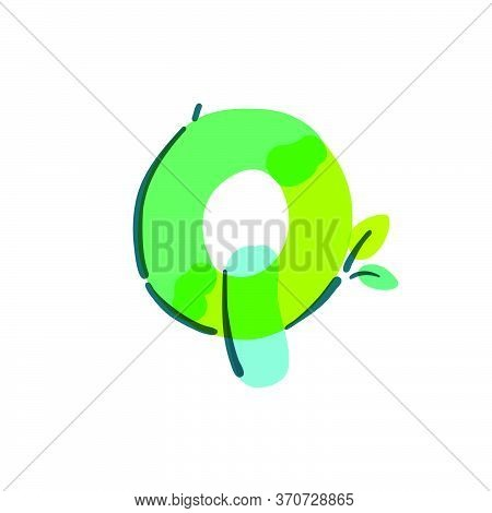 Q Letter Logo With Green Leaf Handwritten With A Felt-tip Pen. Vector Bold Marker Font Can Be Used F