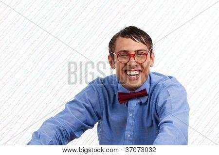 Portrait of happy man on wallpaper.