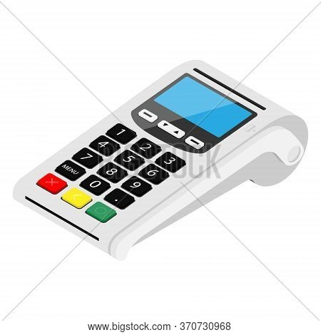 Pos Terminal Payment Machine Isolated On White Background. Bank Payment Terminal. Processing Nfc Pay