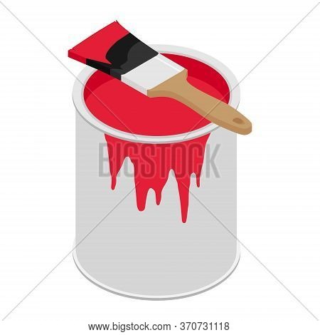 Metal Paint Can With Red Paint And Paintbrush With Wooden Handle Vector Illustration