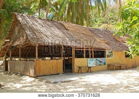 Palawan, Ph - March 8 - Calumbuyan Island Eatery Hut Facade On March 8, 2012 In Coron, Palawan, Phil