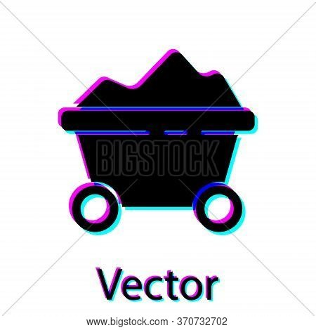 Black Coal Mine Trolley Icon Isolated On White Background. Factory Coal Mine Trolley. Vector Illustr