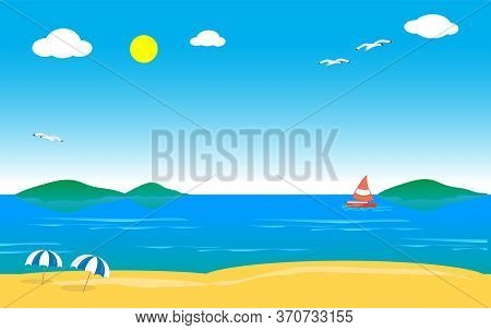 Beach Sea Landscape With Seagulls, Boat And Isles Vector Illustration