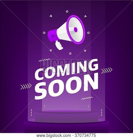Megaphone With Coming Soon Text In The Air. Banner For Business, Marketing And Advertising On Purple