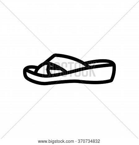 Flip Flop Shoe Icon Vector. Flip Flop Shoe Sign. Isolated Contour Symbol Illustration