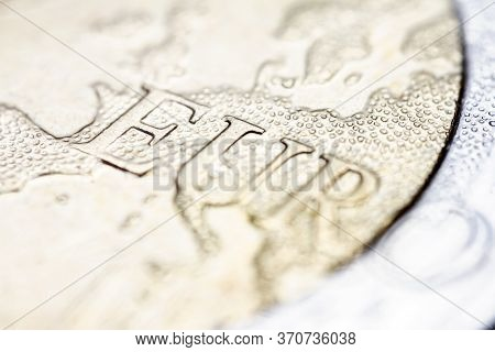 Two Euro Coin Macro Detail With Euro Word. 2 Euro Coin Macro View. European Currency Extreme Close U