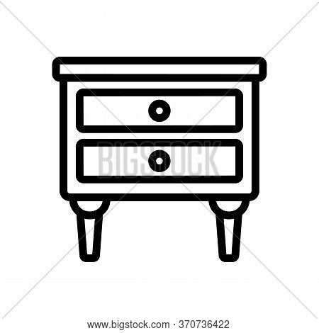 Nightstand Room Furniture Icon Vector. Nightstand Room Furniture Sign. Isolated Contour Symbol Illus