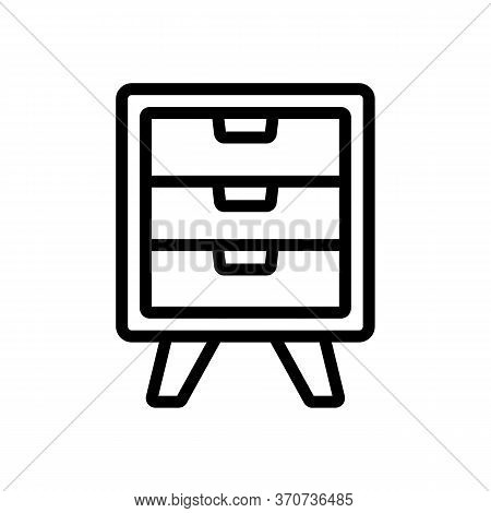 Nightstand Elegance Style Furniture Icon Vector. Nightstand Elegance Style Furniture Sign. Isolated