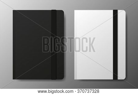 Realistic Blank Black And White Copybook Template With Elastic Band And Bookmark On Gray Background.