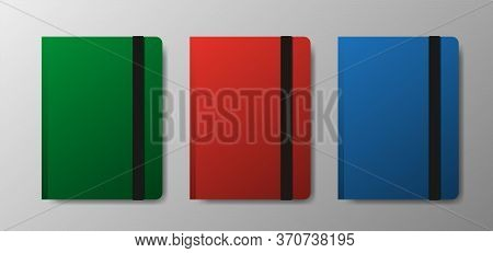 Realistic Blank Green, Red And Blue Copybook Template With Elastic Band And Bookmark On Gray Gradien