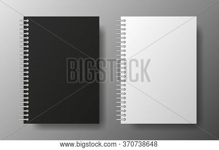 Realistic Blank Black And White Copybook Of Spiral On Gray Background. Notebook Vector