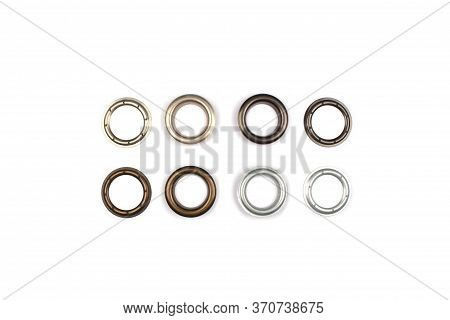 Set Of Brass Multicoloured Metal Eyelets Or Rivets - Curtains Rings For Fastening Fabric To The Corn