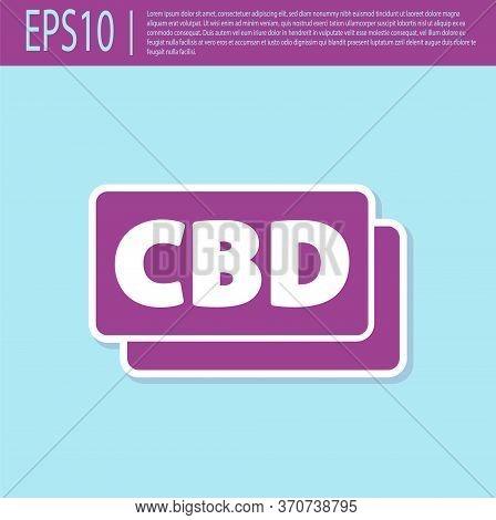 Retro Purple Cannabis Molecule Icon Isolated On Turquoise Background. Cannabidiol Molecular Structur