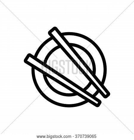 Chopstick On Plate Icon Vector. Chopstick On Plate Sign. Isolated Contour Symbol Illustration