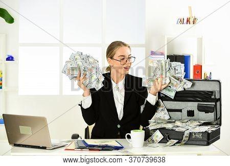 Happy Woman. Security Cash Money Savings. Banking Concept. Black Cash. Financial Insurance. Personal