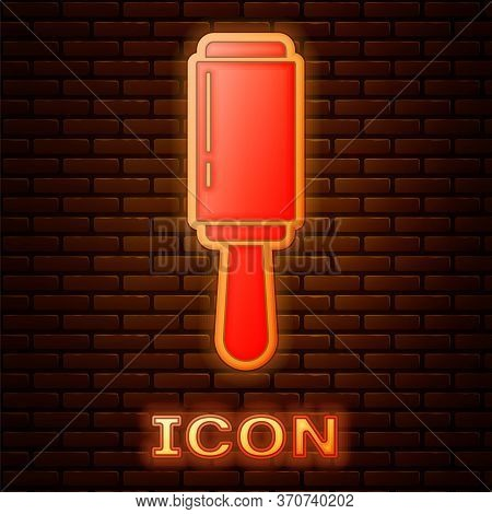 Glowing Neon Adhesive Roller For Cleaning Clothes Icon Isolated On Brick Wall Background. Getting Ri