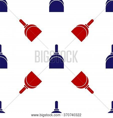 Blue And Red Dustpan Icon Isolated Seamless Pattern On White Background. Cleaning Scoop Services. Ve