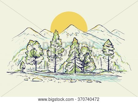 Sketch Of A High Mountain Ranges With Forest, River, Sunrise Or Sunset. Landscape. Hand Drawn Color