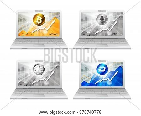 Set Of Laptop With Different Cryptocurrency In The Bright Rays O