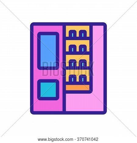 Vending Machine Sell Cigarettes Icon Vector. Vending Machine Sell Cigarettes Sign. Isolated Color Sy