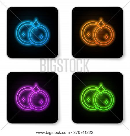 Glowing Neon Washing Dishes Icon Isolated On White Background. Cleaning Dishes Icon. Dishwasher Sign