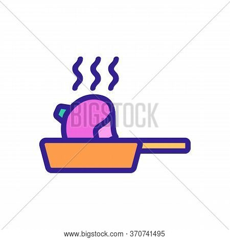Turnip Frying In Pan Icon Vector. Turnip Frying In Pan Sign. Isolated Color Symbol Illustration