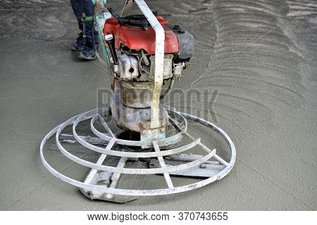 Helicopter Concrete Finishing Pouring Cement On Worksite