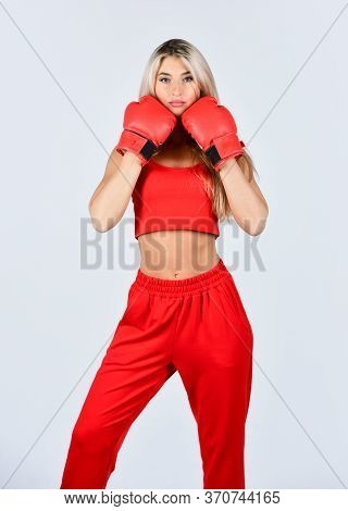 Happy And Sporty. Sports Training. Best Motivation For Her. Active Lifestyle. Girl Doing Boxing Work