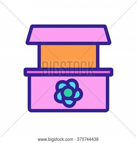 Flower Shop Counter Icon Vector. Flower Shop Counter Sign. Isolated Color Symbol Illustration