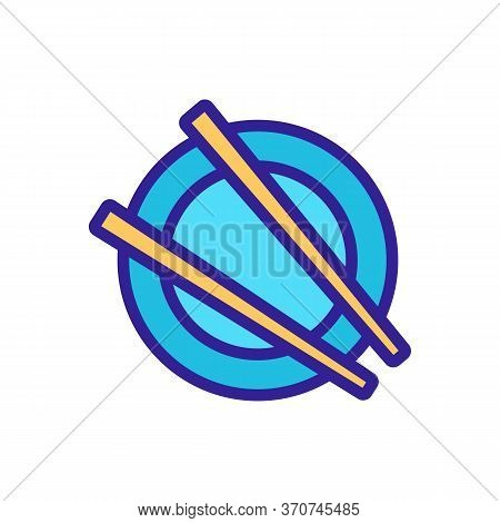 Chopstick On Plate Icon Vector. Chopstick On Plate Sign. Isolated Color Symbol Illustration