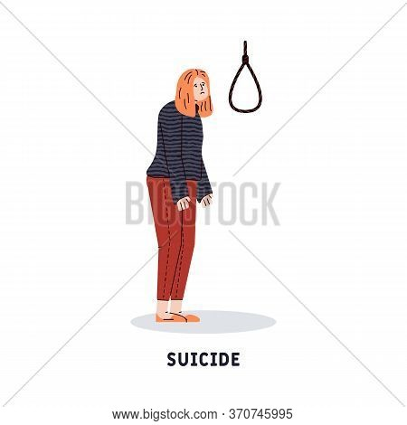 Sad Woman Thinking Of Suicide Death And Looking At Hanging Noose Rope. Cartoon Girl With Depression