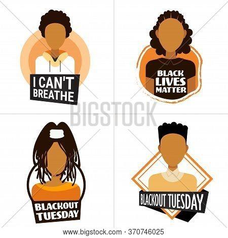 Set African American People Against Racial Discrimination I Cant Breathe Black Lives Matter Blackout