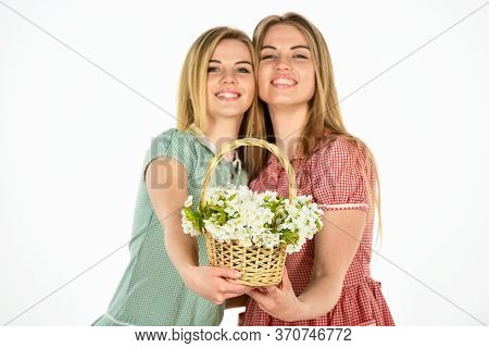 Rustic Style Girls Gathering Flowers Together. Flowers Shop. Natural Fragrance. Friendship And Love.