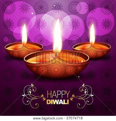 beautiful shiny vector diya on purple background poster