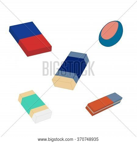 Eraser Flat Color Vector Illustration. Rubber Eraser.