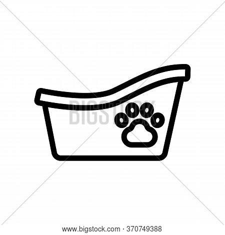 Bathtub For Animal Icon Vector. Bathtub For Animal Sign. Isolated Contour Symbol Illustration