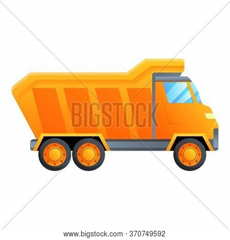 Unloading Tipper Icon. Cartoon Of Unloading Tipper Vector Icon For Web Design Isolated On White Back
