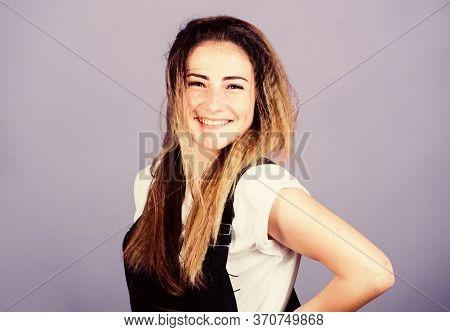 Hair Crimping Method Styling Hair Becomes Wavy Zigzag Fashion. Voluminous Crimped Hair. Trendy Crimp