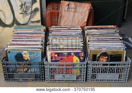 Athens, Greece - April 27, 2015: Plastic Crates With Used Records At Street Market. Old Vinyl Albums