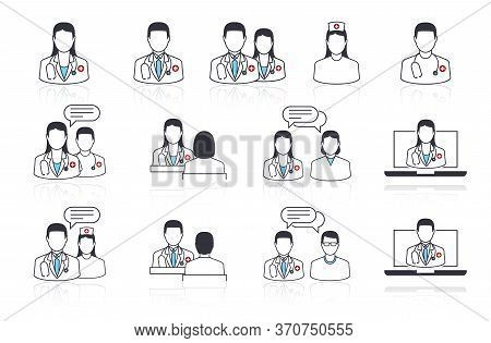 Set Of Vector Line Icons Of Medical Subjects. Doctor, Nurse And Patient. Communication With The Pati
