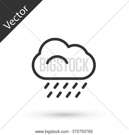 Grey Line Cloud With Rain Icon Isolated On White Background. Rain Cloud Precipitation With Rain Drop