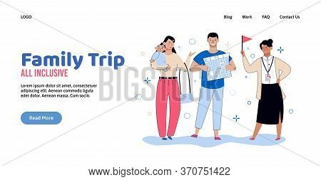 All Inclusive Family Travel Trip Banner Template - Cartoon Tourist Couple With Baby Listening To Tou