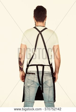 Looking Cool While Working. Working Man Or Worker Back View. Man Wearing Apron With Straps On Back.