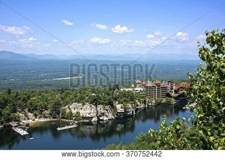 Scenic View Of Mohonk Mountain House And Mohonk Lake, Located In New Paltz, Upstate New York.