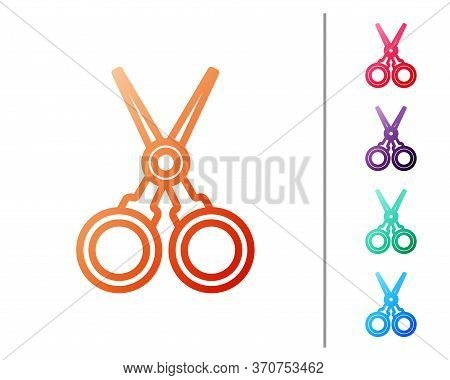 Red Line Scissors Hairdresser Icon Isolated On White Background. Hairdresser, Fashion Salon And Barb