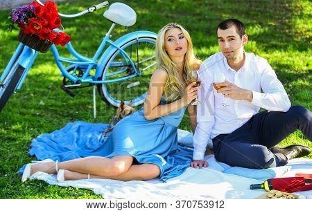 True Love. Cute Couple Drinking Wine. Romance Concept. Toast. Celebrate Anniversary. Attractive Coup