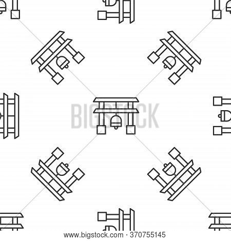 Grey Line Japan Gate Icon Isolated Seamless Pattern On White Background. Torii Gate Sign. Japanese T