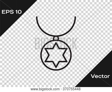 Black Line Star Of David Necklace On Chain Icon Isolated On Transparent Background. Jewish Religion.