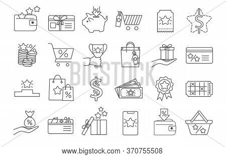 Large Set Of 24 Vector Black An White Line Drawn Bonus Icons With Various Financial Incentives, Gift